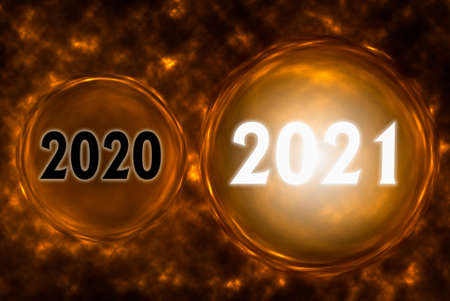 Abstract background with Happy New Year 2021 concept. 3d illustration.