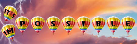 Hot air balloons with possible concept. Abstract background, Thinking and Creativity. 3d Illustration. Фото со стока