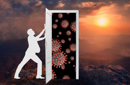 A silhouette of a man closes the door so that the coronavirus does not burst into our beautiful world. Conceptual image. 3d illustration.