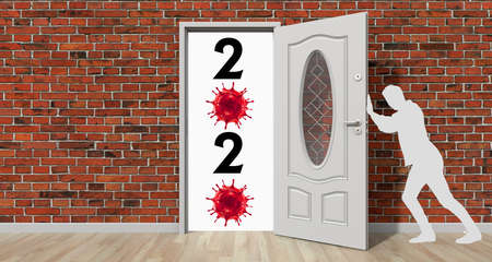 The human silhouette closes the door on 2020 and the coronavirus. Conceptual image. 3d rendering. Фото со стока
