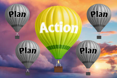Hot air balloons with Plan and Action concept. Abstract background, Thinking and Creativity. 3d Illustration. Фото со стока