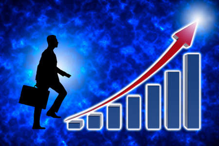 Businessman climbing stairs with economic charts, growth chart of profits. Abstract background. 3d Illustration. Фото со стока