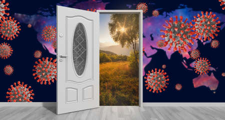 Door open to new better world after Coronavirus COVID-19. Hope for the future concept. 3D illustration.