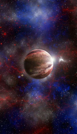 Unknown planet from outer space. Space nebula. Cosmic cluster of stars. Outer space background. 3D Illustration.