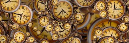 Large set of vintage clock faces. Texture of time, Elegant collection. 3d illustration.