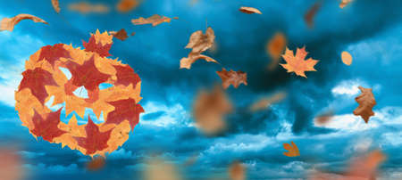 Autumn halloween and fall season holiday. jack o lantern pumpkin made of seasonal leaves. 3D illustration.