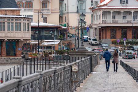 Georgia, Tbilisi - February 25, 2021: People walk in the city.