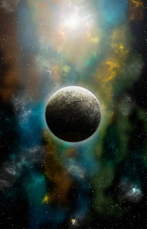 Unknown planet from outer space. Space nebula. Cosmic cluster of stars. Outer space background. 3D Illustration. Banco de Imagens