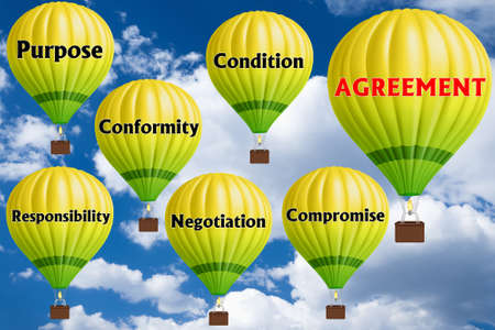 Hot air balloons with AGREEMENT concept. Abstract background, Thinking and Creativity. 3d illustration.