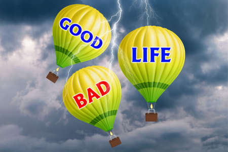 Hot air balloons with Good life concept. Abstract background. 3d Illustration. Foto de archivo