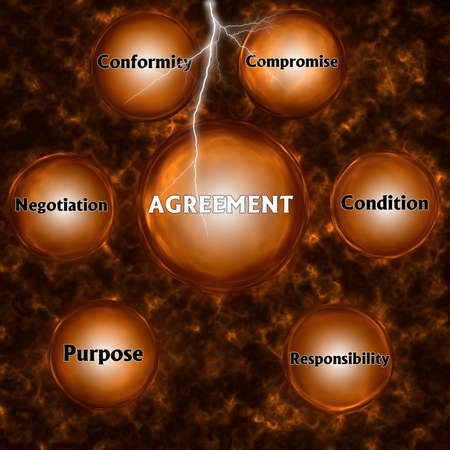 Abstract background with AGREEMENT concept. Thinking, Success and Creativity. 3d illustration.