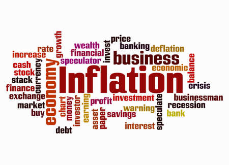 Word Cloud with INFLATION concept create with text only. Banco de Imagens