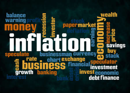 Word Cloud with INFLATION concept create with text only.