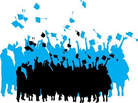 gorros de graduacion: Graduación silueta Vectores