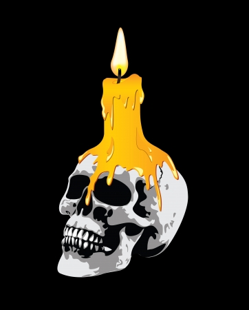 A candle on a skull its terrible Vector