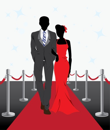 An illustration of couple walk on red carpet Vector