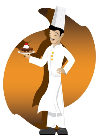 Illustration of chef with chocolate cake on abstract background. Vector