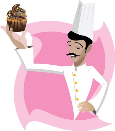 Illustration of chef with cupcake on abstract background Vector
