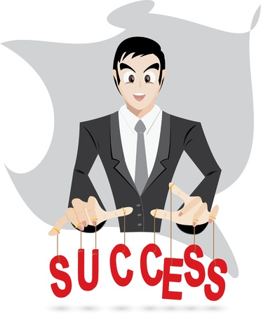 puppeteer: Illustration of businessman is control success