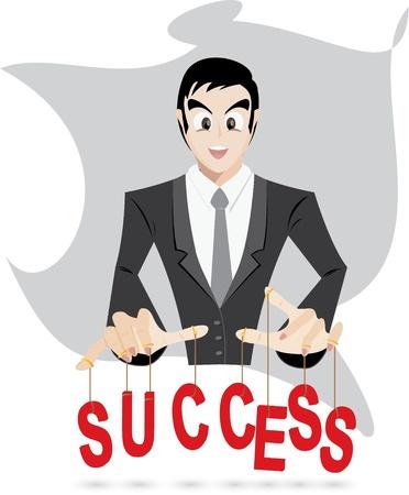 success control: Illustration of businessman is control success