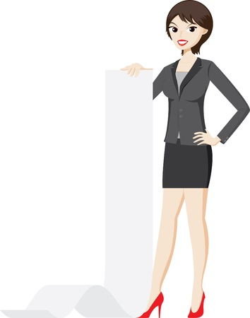 woman business suit: Illustration of businesswoman is holding a presentation paper.Concept  of presentation in business job