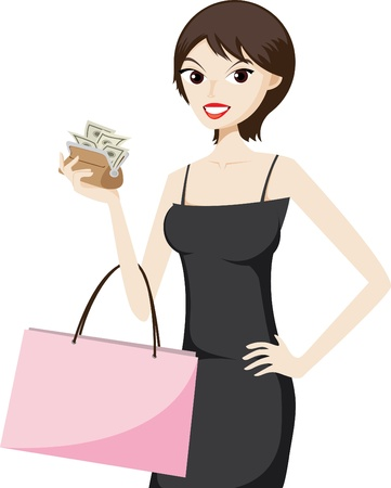 purses: Illustration of shopping girl with money in a purse.Lifestyle in city