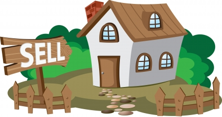 sell house: Illustration of house for sell  Concept of city lifestyle