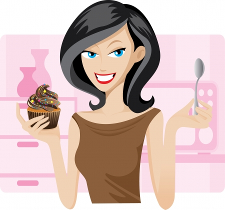 beautiful eating: Illustration of pretty woman with sweetie cupcake. Concept of people lifestyle.