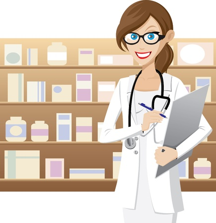 Illustration of female pharmacist is checking medicine stock. Contain transparency effect. Vector