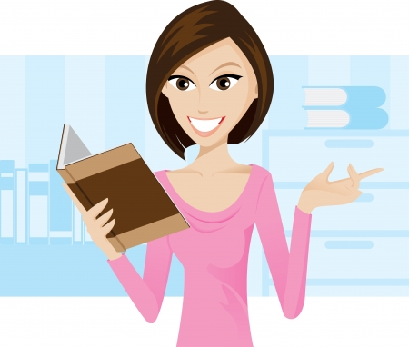 Illustration of girl is reading a book. contain gradient effect. Vector