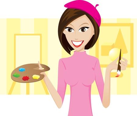 artist painting: Illustration of girl artist on background.Lifestyle of people. Illustration
