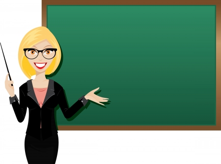Illustration of young girl teacher with blackboard. Vectores