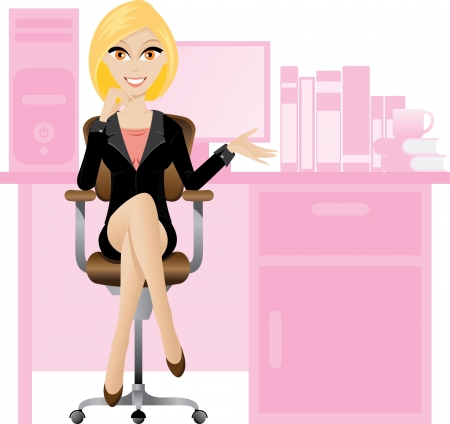 desk work: Illustration of female secretary sitting on a chair. Office lifestyle.