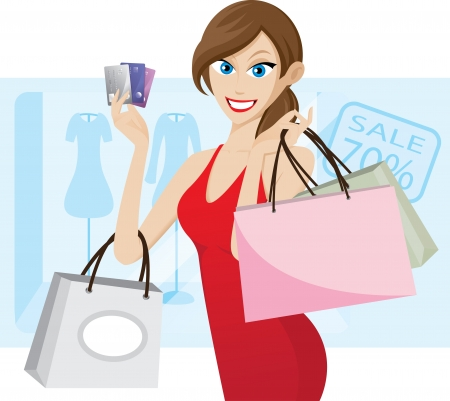 woman credit card: Illustration of girl shopping with credit card. Contain transparency effect. Illustration