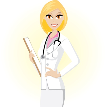 Illustration of female doctor has blonde hair hold a clipboard. Vector