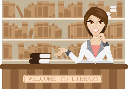 Illustration of female librarian in library. Contain gradient mesh. Vector
