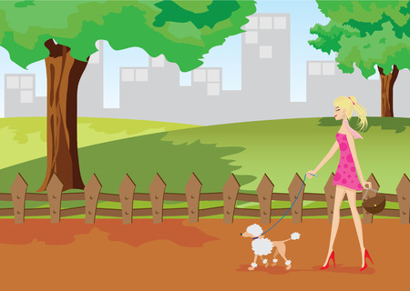 Illustration of a girl is walking in a park with one poodle dog.Lifestyle concept.Contain gradient and clipping mask. Vector