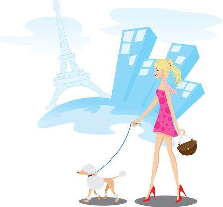 Illustration of A girl walking in Paris with one poodle dog.Lifestyle concept.Contain gradient and clipping mask. Vector