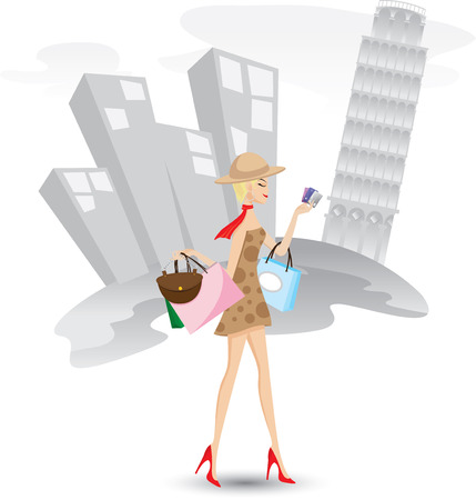 Illustration of a girl is shopping with credit cards in Italy.Lifestyle concept.Contain gradient and clipping mask. Vector