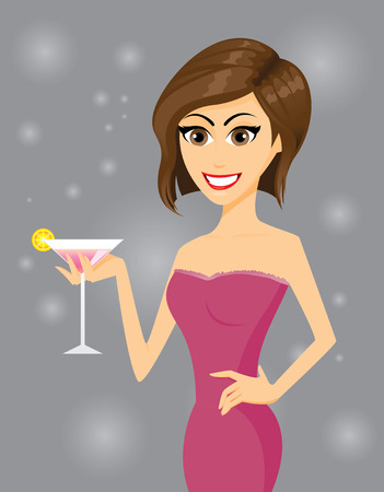martini glass: Illustration of a girl with a glass of cocktail on abstract background.Contain gradient effect. Illustration