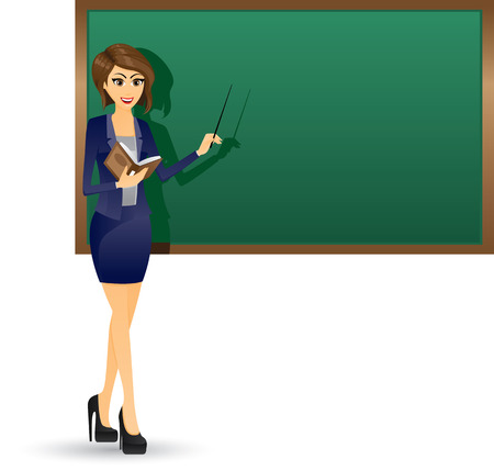 Illustration of beautiful teacher holding book and focus at blackboard.Working woman concept.Contain gradient effect. Vector