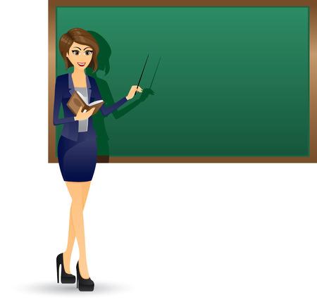 sonrisa hermosa: Ilustraci�n de hermoso libro del profesor que sostiene y el enfoque en blackboard.Working mujer concept.Contain efecto de degradado.