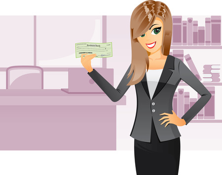 Illustration of a business girl is holding a cashier check with bank office background.  Vector