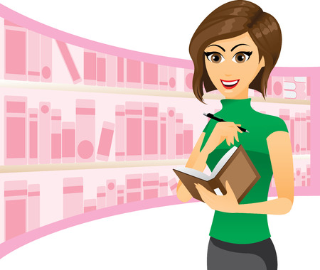 Illustration of a girl writing in notebook with library background. Vector