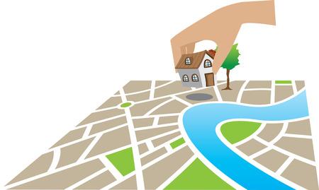 construct: de bouw van een huis op het land in een kaart Stock Illustratie
