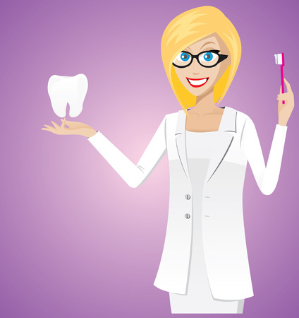Illustration of female dentist is showing toothbrush and molar