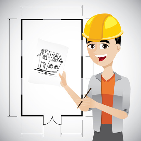 jobs cartoon: illustration of cartoon architect sketching house with floor plan background.