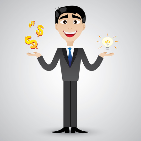 set of businessman: illustration of cartoon businessman holding idea bulb and money