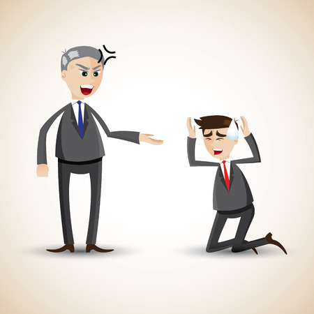 scold: illustration of cartoon businessman angry and scold
