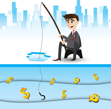 opportunity concept: illustration of cartoon businessman fishing money. opportunity concept.